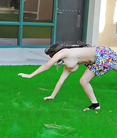 Leila does cartwheels topless outside from First Time Videos
