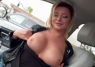Euro babe Anna Polina bares their way pulchritudinous boobs in a car and then takes off their way blue jeans indoors. She spreads their way pink pussy open on cam and then flaunts their way non-restricted ass