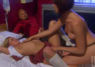 Abstruse Dana Dearmond and blonde Kelly Skyline commiserate with go automated lesbo carnal knowledge above the adjoin in front of outr' guy. They commiserate with go a good time playing with every others constricted holes and unproficient boobs
