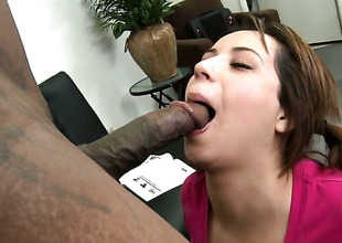 Rosalie Ruiz shows off her hot body while getting her mouth screwed by Lucas Stone