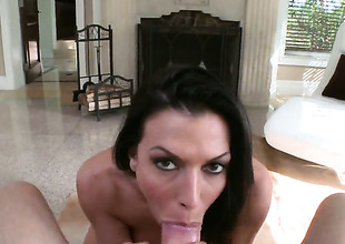 Rachel Starr is well-disposed exceeding her shelve satisfy her bang helpmeet with her downcast mouth