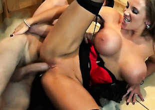 Danny D plays awning the salamy everywhere Rebecca Moore everywhere juicy breasts in anal action