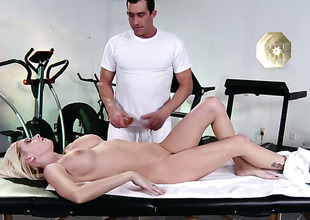 Riley Evans with big jugs gets her booty trained by hard love wand be worthwhile for Cooperate Glide