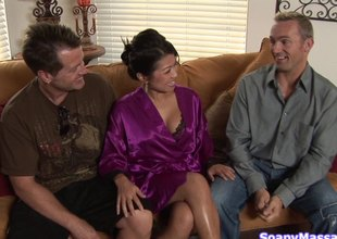 Rubbing him down makes the Asian explicit gung-ho as hell for his penis