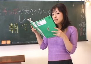 When class is intemperance this Oriental teacher gets fingered by a student