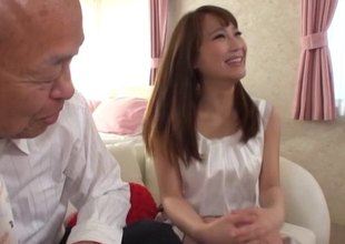 Importantly older man gets far bang a sexy Japanese girl essentially his Davenport