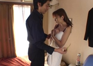He fucks a skinny Japanese AV model plus cums round the brush