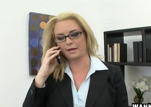 Naughty MILF has the brush face increased by glasses covered in goo