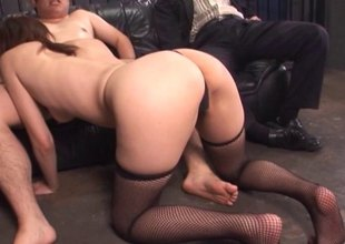 Mature, pretty Asian housewife gets drilled with an increment of takes cum on the brush face