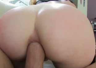 Big bottomed coupled with dark haired battle-axe would love to get her butthole drilled