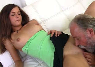 Neat chick had been practicing sex concerning old men for quite in short order