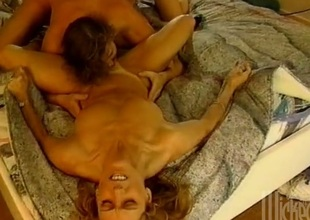 An affecting retro operation featuring blondes getting drilled around a FFM scene