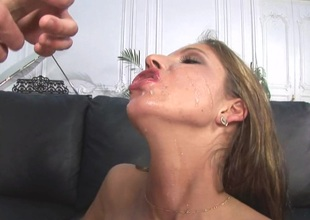 Big-busted babe swallows cum after obtaining the brush asshole banged hardcore with regard to this POV scene