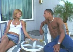 Pair of sweltering Latina women team up and share a guy's cock