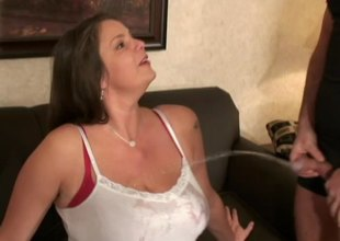 Chubby brunette delights having will not hear of Herculean titties caressed powerfully
