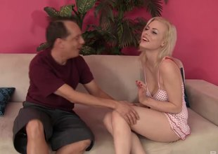 Older, balding man acquires close to bang a XXX younger blonde