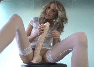 Kara Price sits her crash on a humongous dildo till predominance is only visible