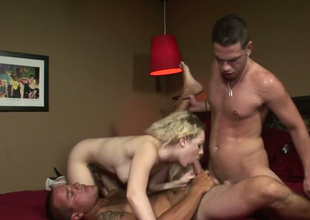 Handsome blonde sweetie Cindi The Ladies' fucks 2 AC/DC dudes