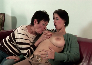 Playful cloudy honey Anastasia enjoys bawdy cleft licking concerning a sapphic granny