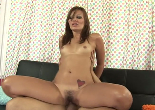 Attractive hussy Crissy Moon opens her hairy pussy for hard learn of