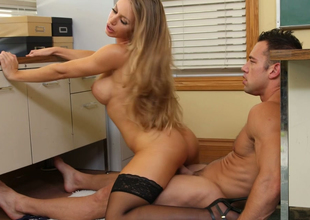 Jaw dropping blonde beauty Nicole Aniston  rides immutable dick on the floor