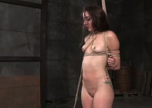 Naughty brunette doxy with small chest Mandy Star-gaze is have a hunch fucked in BDSM porn pic scene