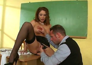 David Perry shoves his love employ in sinfully sexy Roberta Gemmas throat before she gets fucked in their way butthole