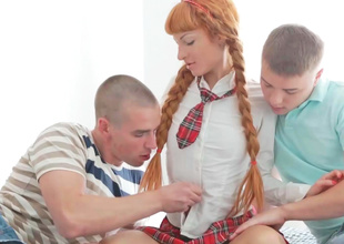 Hot carve hurt redhead is having a threesome with one guys