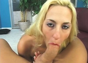 Pretty tow-headed with obese hooters sucks and fucks a lengthy prick POV style