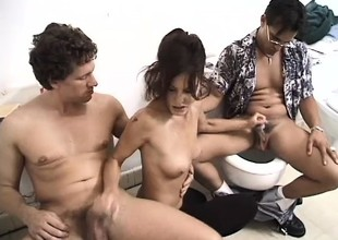 Slutty milf has 2 unpredictable intensify studs roughly banging the brush holes in the toilet