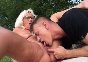 Discombobulated granny is having a fancy fucking younger guys with stilted dicks