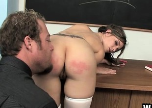 Naughty schoolgirl with a sexy body acquires fucked hard be required of bad behaviour