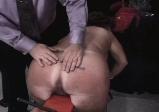 Chunky ancient brunette takes some torture on her jugs and up to here the dungeon