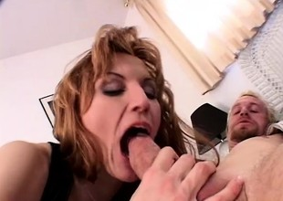 Neglected little one with big natural milk shakes sucks a lengthy rod and gets drilled hard wide both holes
