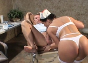 Nurse relieves a patient of his abiding boner with her bedraggled cunt