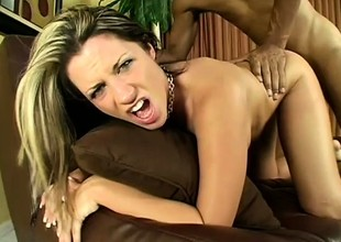 Monstrous sinister bushwa pain away at Kori's pussy from shy away from makes her yell
