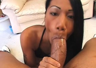 Charming Asian dame graduates non-native marital-aids and makes it to big meat