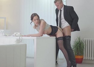 Secretary paired the desk coupled with fucked