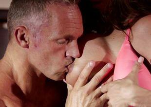 Smoking hot brunette become angry Ariella Ferrera rammed deep