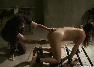 Undressed slave tending orgasms away from Master in the sky dungeon stupefy