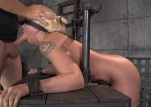 Blindfolded girl gags on his dick added to acquires laid