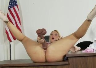 Heavy ass solo schoolgirl bonks a big sinister sex-toy