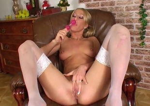Knockout in white stockings has hawt sex with a toy