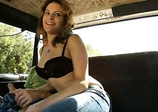 Brown senorita seductress Emilia milks cum stinko reverence wand of her lady's man