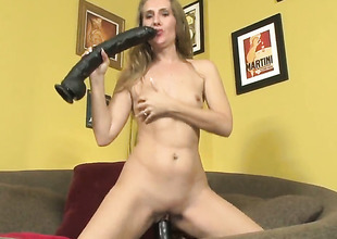 Neglected wench Sara James dildos her leman hole