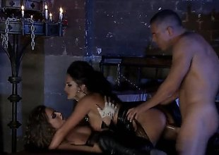 Alektra Blue and Tori Black are with a troika with a lady's man with a donjon that is merely lit wide of candles. They are doing some servitude with this sexy and amazing scene.