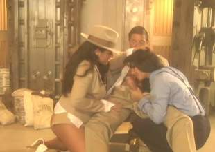 Elegant large titted crestfallen sweetheart Jenaveve Jolie in chic hat shares indestructible shlong with another sultry brunette hair in FFM threesome. Watch 2 passionate crestfallen blooded hotties do a cohort