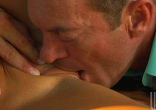 Sex starved dark haired cheerleader Audrey Bitoni in X red uniform has X alfresco sex with older guy. This chab licks will not hear of tight snatch and she eats his sausage roughly the fore it comes roughly fucking