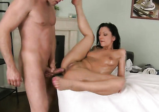 Brunette receives all hot then gazoo slammed by Choky Ice to come she receives her throat banged