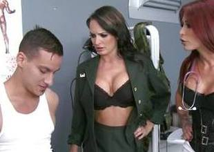 Horny soldier punished by Monique Alexander and Alektra Blue